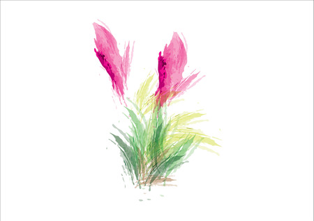 pink abstract watercolor flower with green leave on white background,clump of grass Illusztráció