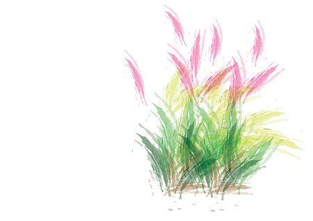 Pink abstract watercolor flower with green leave on white background,clump of grass