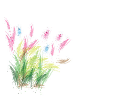 pink abstract watercolor flower with green leave on white background,clump of grass Illustration