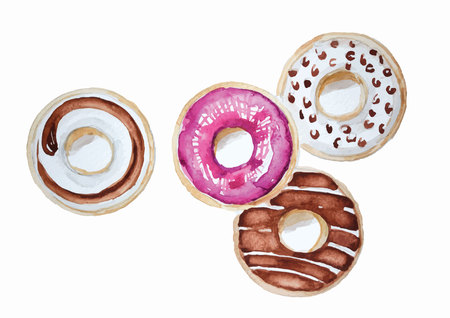 Donuts set hand drawn watercolor painting on white background . isolated pictures  for object or background Stock fotó