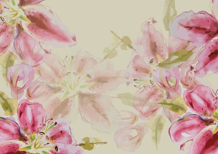 Lily flower hand drawn watercolor painting for background