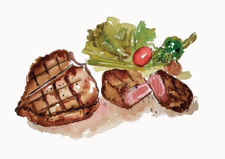 Steak hand drawn watercolor painting on white background