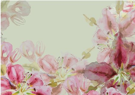 Lily pink flowers hand drawn watercolor painting for background Stock fotó