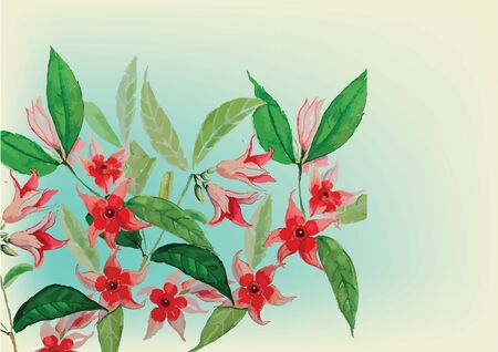 red with green leaves flowers hand drawn watercolor painting for background Stock fotó