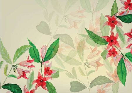 pink  and red flowers hand drawn with green leaves  watercolor painting for background Stock fotó