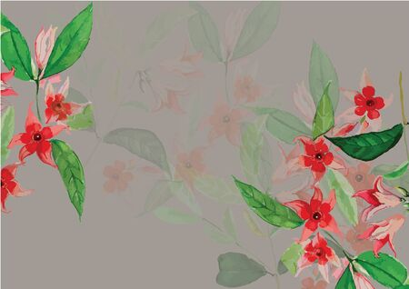 pink  and red flowers hand drawn  with green leaves watercolor painting for background