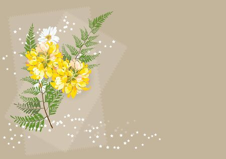 flowers circle bouquet and fern  on brown  background,vector illustration Illustration