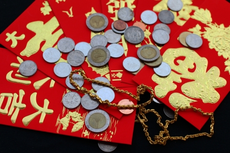silver ingots: Chinese red pockets ,gold and silver nuggets