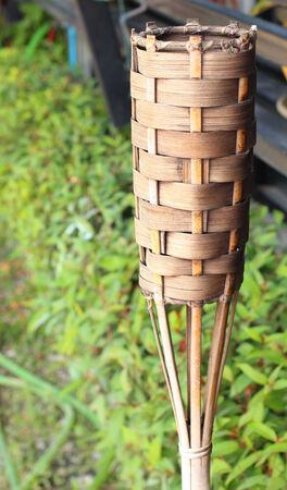 vintagel: Bamboo basketry candle thai handicraft  Stock Photo