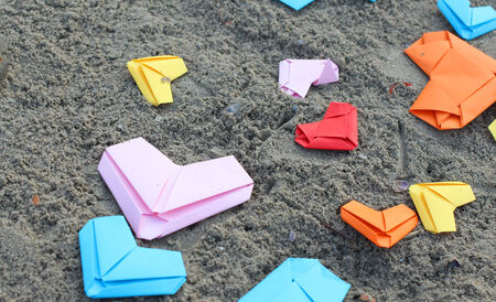 valentine s paper heart on beach photo