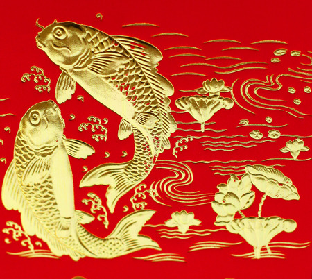 Auspicious double fish symbol for Chinese photo