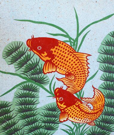 auspicious: Auspicious double fish symbol for Chinese