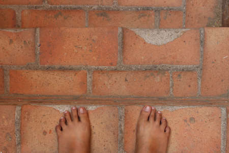 foots: The foots on old ancient staircase