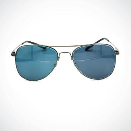 Brille, Bild von modern, modisch, Sonnencreme auf weißem Hintergrund.