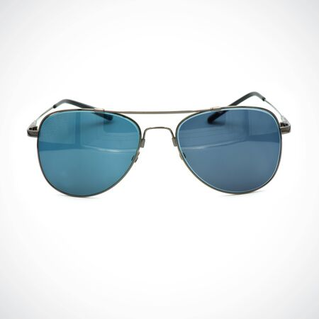 Occhiali, immagine di moderno, alla moda, crema solare su sfondo bianco.