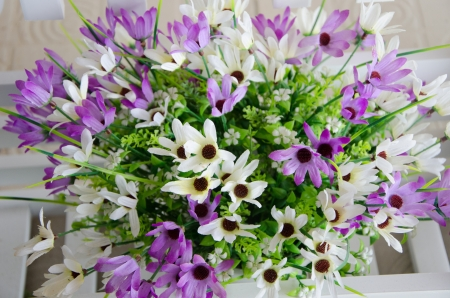 Close Up Artificial Flowers Pots In Garden Stock Photo   21195747