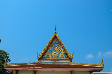 The beautyful roof of temple with blue sky photo