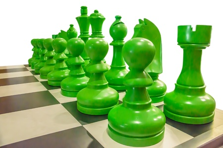 chessmen: Simulated chess with isolated background Stock Photo
