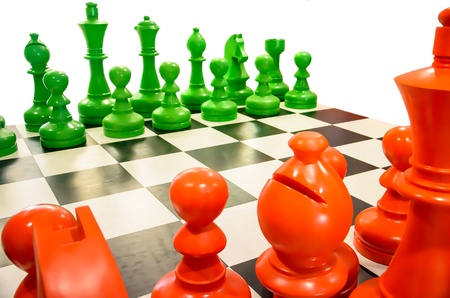 Simulated chess with isolated background Stock Photo