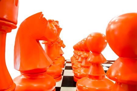 Simulated chess with isolated background photo