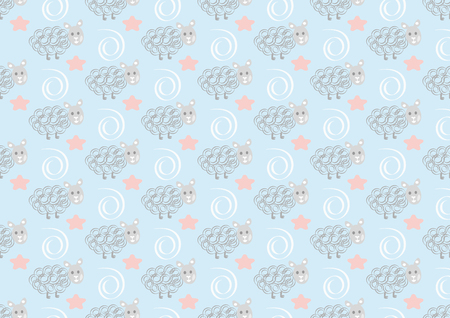 Cute sheep seamless pattern on pink polka dots background. Vector baby sheep illustration for kids holidays. Çizim