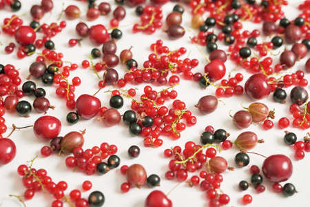 Fruit pattern of colorful fresh berries on white background. Top view. Flat lay. Summer Organic Berry Cherry, Currant, Gooseberry. Agriculture, Gardening, Harvest Concept. Vitamins, Healthy Diet