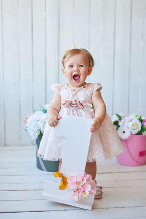 Smash cake party. Little cheerful birthday girl with first cake. Happy infant baby celebrating his first birthday. Decoration and photo zone for first year. One year baby celebration. Pink decor Archivio Fotografico