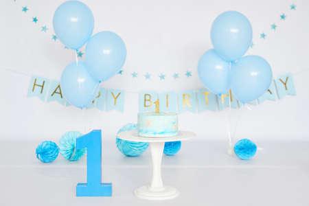 Birthday 1 year Cake Smash Decor Archivio Fotografico