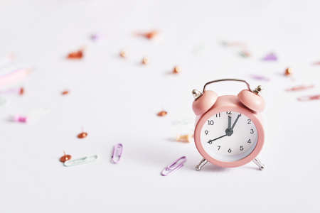Stationery and alarm clock. Back to school! Designer desk objects. School supplies