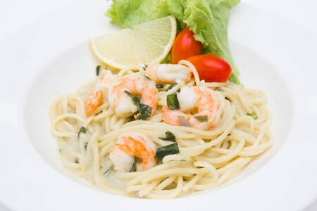 spaghetti cream cheese white sauce with shrimp  Italian food style 写真素材 - 137772600