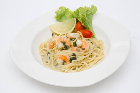 spaghetti cream cheese white sauce with shrimp  Italian food style 写真素材 - 137772602