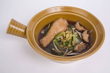 Braised chicken noodle soup Thai style.