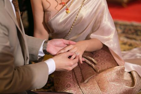 Wedding ring,groom and bride hand in wedding ceremony