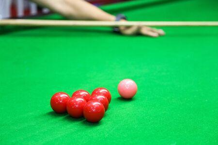 snooker ball on the green snooker table. Archivio Fotografico - 136902998