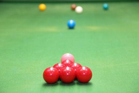 snooker ball on the green snooker table. Archivio Fotografico - 136902825