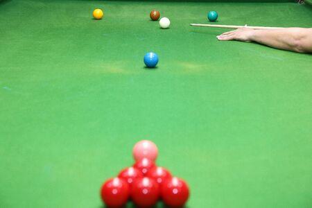 snooker ball on the green snooker table. Archivio Fotografico - 136902961