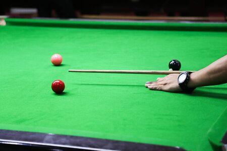 snooker ball on the green snooker table. Archivio Fotografico - 136902812