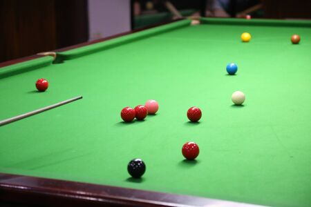 snooker ball on the green snooker table. 免版税图像