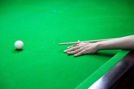 snooker ball on the green snooker table. Archivio Fotografico - 136903014