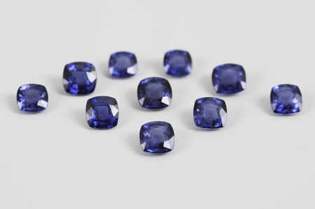 Natural Loose Blue Sapphire Gemstone. Stock Photo