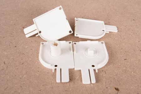 Pvc Plastic Window parts isolated on brown background
