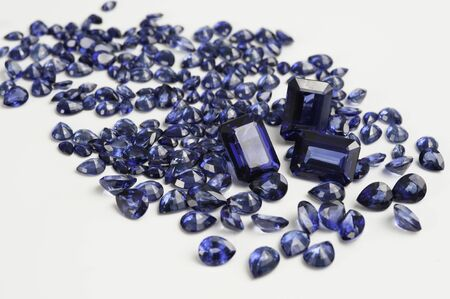 Natural Loose Blue Sapphire Gemstone. 스톡 콘텐츠