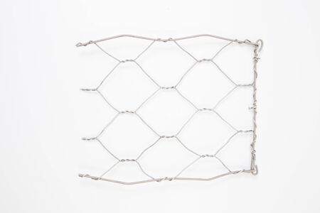 Wire mesh cage with on the white background