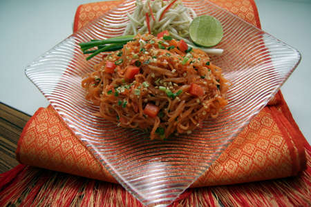Noodle padthai food thailand in the dish