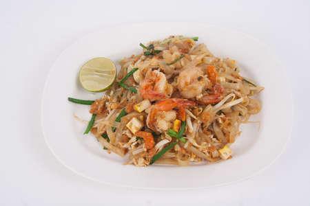 shrimp pad thai on white background