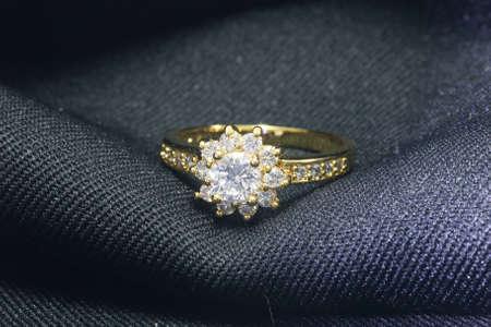 Golden Wedding Ring with Diamond