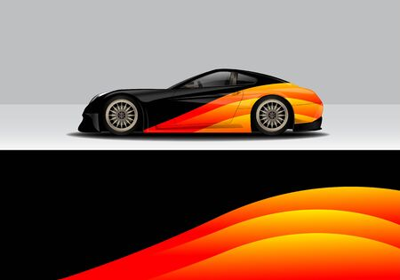 car wrap with modern abstract background vector design  イラスト・ベクター素材