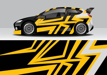 car wrap with modern abstract background vector design for racing, livery, drift, sports 스톡 콘텐츠 - 134000574