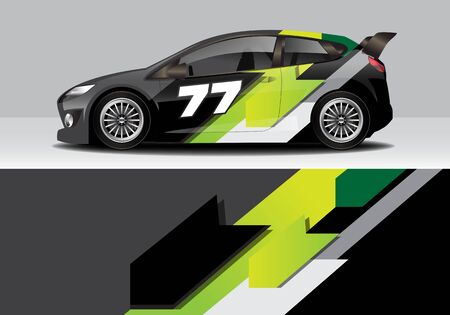 car wrap with modern abstract background vector design for racing, livery, drift, sports 스톡 콘텐츠 - 134000576