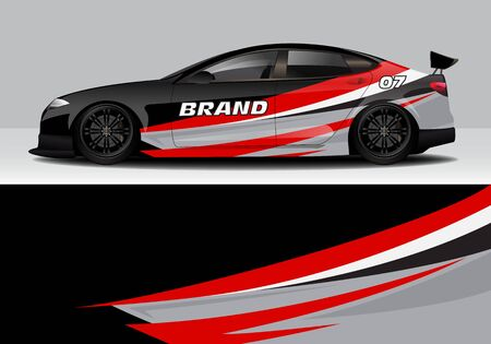 car wrap with modern abstract background vector design for racing, livery, drift, sports 스톡 콘텐츠 - 134000581